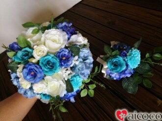 供有青花束◆某事藍色◆花冠的◆新郎使用的引導裝入程序附近從屬于的花束/婚禮花束/新娘花束/絲綢花花束
