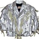 MEX TEX BY JOHNSONS LA ROCKA! VINTAGE Silver Leather fringe Biker jacket Western ジョンソンズ フリンジ ライダ…
