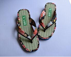 和風柄い草サンダル レディース、女性用、お買い得商品、日本製、草履、和柄、軽量、和装、スリッパ、室内履き、外反母趾、畳サンダル