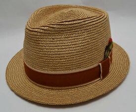 RADIALL ラディアル STRAW HAT COUNTRY ストローハット 中折れハット 中折れ帽 SIZE:M ナチュラル ブラウン フェザー 羽 帽子 メンズ 【中古】【帽子】【金沢本店 併売品】【7400402Kz】
