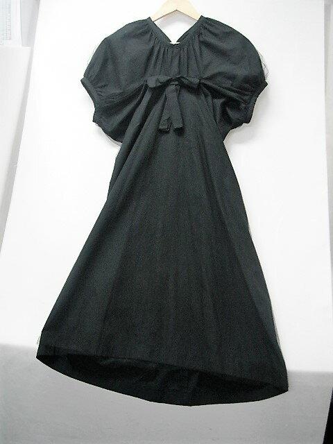 値下げしました! COMME des GARCONS trico パフスリーブワンピース size:M コムデギャルソン トリコ チュール リボン ブラック 黒 ドレス
