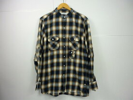 NONNATIVE 18S/S GARDENER SHIRT size:3 ノンネイティブ オニブレチェック バンドカラー チェックシャツ ブルー×ブラウン