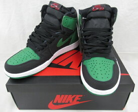 【中古】NIKE AIR JORDAN 1RETRO HIGH OG555088-030 Size:26cm BLACK/PINE GREEN 未使用品