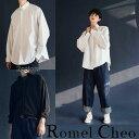 RomelCheo モノトーンシャツ ドルマン ワークシャツ ワントーン 古着風 トラッドカジュアル ビッグシルエット ワイシャツ メンズ レディース ユニセックス ブラック ホワイト ロメルチェオ