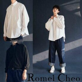 【送料無料】RomelCheo モノトーンシャツ ドルマン ワークシャツ ワントーン 古着風 トラッドカジュアル ビッグシルエット ワイシャツ メンズ レディース ユニセックス ブラック ホワイト ロメルチェオ