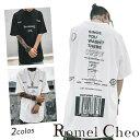 【送料無料】RomelCheo バーコードビッグTシャツ ストリート系 オーバーサイズ ビッグシルエット グラフィック ダボT バックプリント ヒップホップ hiphop メンズ ロンT レディース ユニセックス 韓国系 原宿系 モード ロメルチェオ