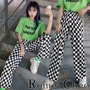 RomelCheo チェッカー チェック パンツ レディース メンズ ユニセックス 市松模様 格子柄 モノトーン 白黒 原宿系 ストリート 韓国 オルチャン ファッション ストレッチ 薄手 オールシーズン カジュアル ティーンズ ロメルチェオ