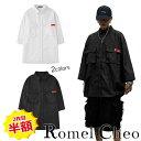 【送料無料】RomelCheo ワークシャツ デザイン シャツ カジュアル シンプル 黒 白 メンズ モノトーン ポケット 7分袖 薄手 ストリート系 b系 モード系 ビッグシルエット ロメルチェオ