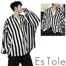 EsTole ストライプビッグTシャツ オーバーサイズ ビッグシルエット ゆったり 長袖 パフスリープ ボリューム袖 ドロップショルダー 羽織 トップス メンズ モード ストリート カジュアル 原宿系 エストール