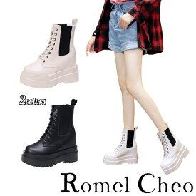 RomelCheo インヒール サイドゴア ブーツ ショート 厚底 白 黒 シューズ 紐靴 レディース 合成皮革 PU フェィクレザー 滑りにくい モード系 ストリート系 カジュアル シークレットブーツ ロメルチェオ