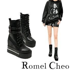 RomelCheo インヒール プラットフォーム ブーツ ショート 厚底 黒 ジョッパー シューズ 紐靴 レディース 合成皮革 PU フェィクレザー 滑りにくい モード系 ストリート系 カジュアル ロック パンク シークレットブーツ ロメルチェオ