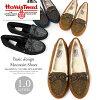 sz-4087 where HARRIS TWEED Harris Tweed moccasins fur shoes pumps Lady's ぺたんこ black is not painful
