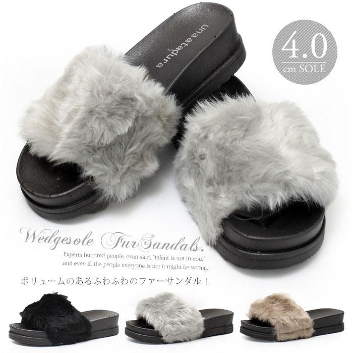【全品送料無料】ファーサンダル 厚底 屈曲 ふわふわ レディース サンダル 歩きやすい 履きやすい ym-64100