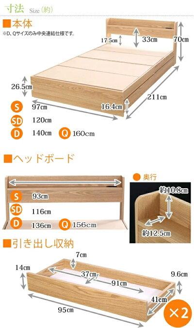 セミダブルベッド棚引き出し収納ベット送料無料シングル収納付きマットレス付き木製ベッドシングルサイズ棚付きコンセント付き収納ベット引き出し付きベッド【ポケットコイルマットレス】商品名:エミーマットレスセット(シングルサイズ)