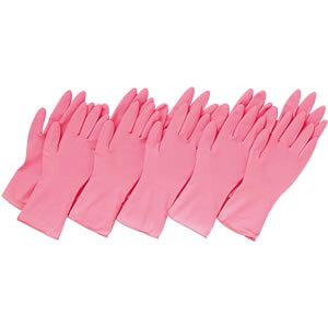 コモライフ 左右兼用 薄型 家庭用ゴム手袋 10枚入 ピンク