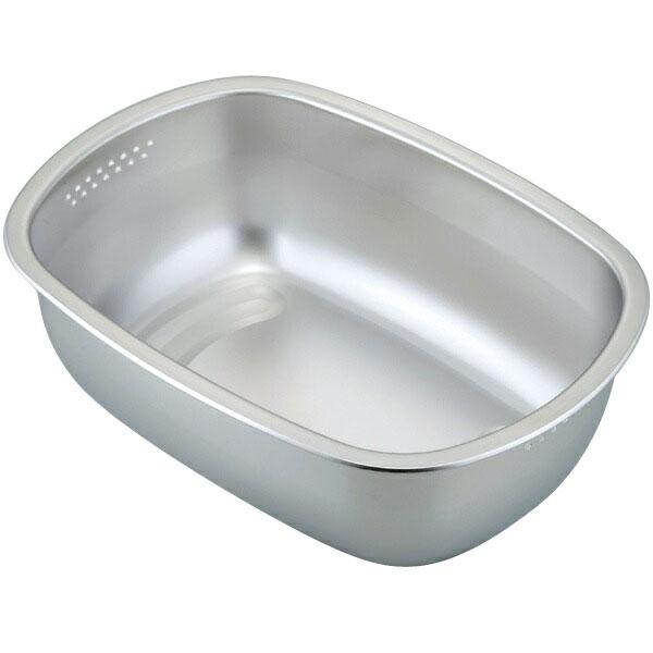 下村企販 ステンレス製の小判型洗い桶 足付 30248