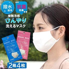 冷感 マスク 接触冷感 マスク 夏用マスク 2層式 抗菌 マスク 小さめ orレギュラー 夏マスク ひんやり マスク 2箱4枚 在庫あり 3営業日以内発送 返品不可