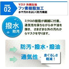 マスクフッ素樹脂加工(テフロン加工)生地の洗えるマスク立体縫製、高機能