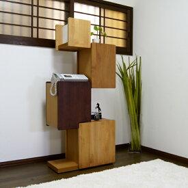 OR-R 電話台 タワーシェルフ 棚ナチュラル ブラウン幅 60 ×奥行30×高さ137cm国産 日本製無垢材 硬質シート木製 fax台 シンプル 北欧 リビング収納 完成品 60cm ハイタイプ
