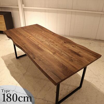 商品名|NSTダイニングテーブルカラー|ブラウンウォールナットサイズ|幅180奥行87高さ72cm主素材|天然木ウォールナット無垢材天板厚45mmのシンプルモダン木製カフェダイニング食卓テーブルスチール脚タイプ