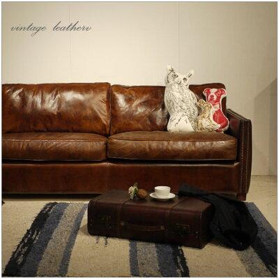 ・VintageLeatherSofa-07・3人掛け3Pソファー・アンティークモダンデザイン・鋲飾りヴィンテージレザー・革レザー本皮張り椅子