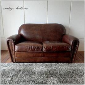 当店全品 カード決済でP5%還元!・Vintage Leather Sofa - 16・2人掛け 2P ソファー ・アンティークモダンデザイン・鋲飾り ヴィンテージレザー・革 レザー 本皮張り椅子