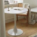 BLANC ラウンドテーブル 丸テーブル カフェテーブル 幅80cm 高さ73cm 18mm厚さのMDF天板 円形テーブル 丈夫な鉄製フレ…