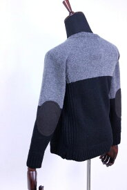 【SALE 30%OFF】soglia (ソリア)LANDNOAH sweater/エルボーパッチ クルーネックニット/セーター bi-color 2color 2017'A/W【Men's】