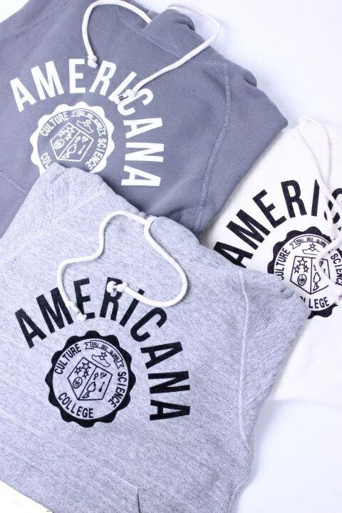 """【30%OFF】Americana(アメリカーナ)HOOD PRINT SWEAT """"AMERICANA 紋章"""" 3color 2018'S/S 別注【Lady's】"""