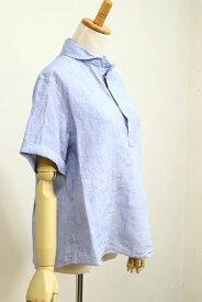 【SALE 20%OFF】DANTON(ダントン)LINEN CLOTH 半袖ショールカラープルオーバー #JD-3565 KLS 3color 2020'S/S【Lady's】