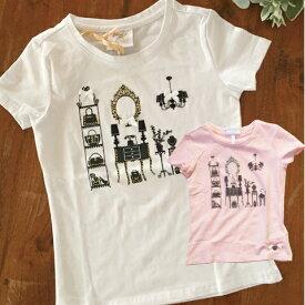 ラインストーンTシャツ ドレッサーROOM 白 ピンク 2色展開 104サイズ