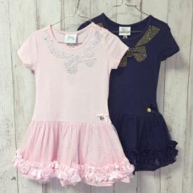 裾がゴージャスなカットワンピ 2色展開ピンク/ネイビー 104 116 128 140 152サイズ