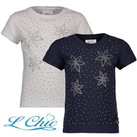ラインストーンTシャツ フラワー白 ネイビー 2色展開 116 128 140 152 164サイズ