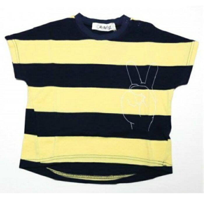 Geewhiz(ジーウィズ)ピース ボーダー半袖Tシャツ【navy×yellow】【gw71ats181】【80-140cm】