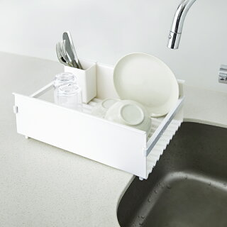 DRAINER水切りラックシンク上スリムコンパクト食器キッチン水切りラック収納キッチン収納シンク横水切りかご流れるカトラリー省スペース箸立て北欧おしゃれシンプルホワイト白日本製ドレーナ—