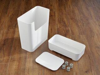 エノッツサイドテーブルゴミ箱おしゃれワゴンキャスター付き2段二段収納収納ボックスサイドワゴンスリムキッチンワゴンキッチン蓋ふた付きキッチンホワイトシンプルリビング[ENOTSサイドワゴン]