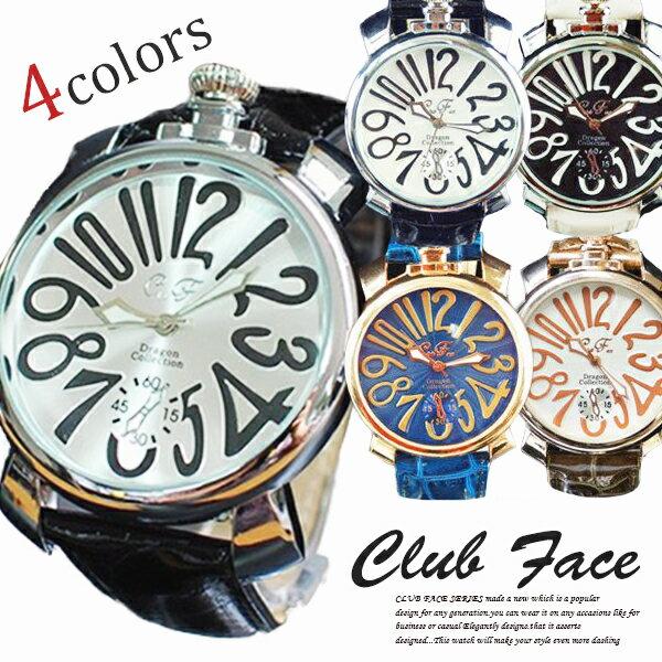 【3/26 1:59までポイント10倍】腕時計 メンズ クラブフェイス メンズ腕時計 革 CF-9000SM プレーンタイプ 送料無料