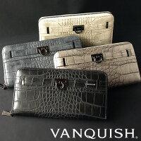 【送料無料】財布メンズ長財布VANQUISHヴァンキッシュクロコ型押しデザインラウンドZIPウォレットVQM-40060