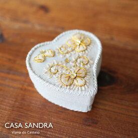 CASA SANDRA スパンコール ハート布箱 クラフト小物入 ゴールド ポルトガル製 アクセサリー コスメ 収納 Box かわいい おしゃれ レトロ 母の日 誕生日 女子 プレゼント Roots