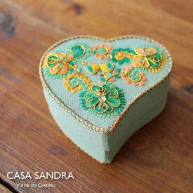 CASA SANDRA スパンコール ハート布箱 クラフト小物入 グリーン ポルトガル製 アクセサリー コスメ 収納 Box かわいい おしゃれ レトロ 母の日 誕生日 女子 プレゼント Roots