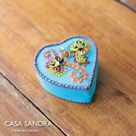 CASA SANDRA スパンコール ミニ ハート布箱 クラフト小物入 シアン ポルトガル製 アクセサリー コスメ 収納 Box かわいい おしゃれ レトロ 母の日 誕生日 女子 プレゼント Roots