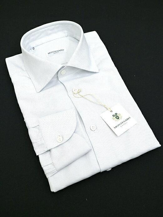 MONTESARO モンテサーロ ドレスシャツ ワイドカラー ライトグレー mot302203