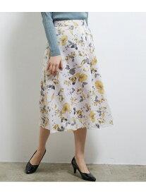 【SALE/39%OFF】アシメタック花柄フレアスカート ROPE' PICNIC ロペピクニック スカート スカートその他 グレー ネイビー【RBA_E】[Rakuten Fashion]