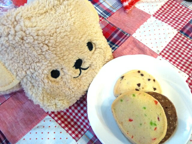 ホワイトデーお返し もこもこくまちゃんの巾着クッキー(お年賀 バレンタイン 贈り物・プレゼント、クッキー)