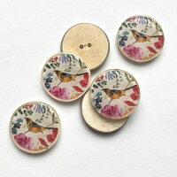 【ヨーロッパ製ボタン】鳥と草花ボタン約20mm