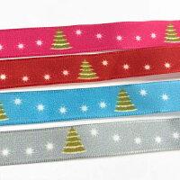 【フランスリボン】クリスマスツリー柄ワイヤーリボン幅:約16〜17mm