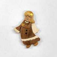 エンジェル(天使)木ボタン【ヨーロッパ製ボタン】【1個単位での販売です】