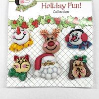 【輸入ボタン】6個セットButtonsGaloreHolidayFun!(Santa&Friends)サンタ、トナカイ、ネコ、イヌ、雪だるま