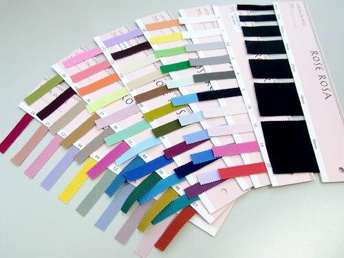 サンプル帳 ポリエステル グログランリボン 色見本 30色+【新色】29色 7サイズ展開の現物サンプルです。