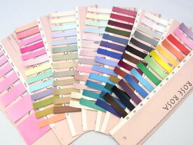 サンプル帳サテンリボン 色見本78色・9サイズ展開の現物サンプルです。【新色が加わり全78色!】(sample-6951-NEW)
